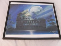17x21 rome coliseum under moonlight spray paint art piece wooden framed 100159 in Fort Carson, Colorado