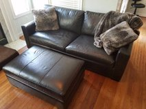 Crate and Barrel Leather Sofa and Ottoman in Fairfax, Virginia
