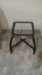 END TABLE OILED RUBBED BRONZE LEGS AND GLASS TOP in Temecula, California