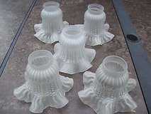 "nice ceiling fan replacement or vanity light covers 5 frosted ruffled edge 2"" in Glendale Heights, Illinois"