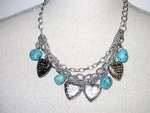 """Silver Tone Turquoise Charm Heart God Lord Luke 10:27 chain strands necklace 20"""" in Kingwood, Texas"""