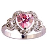 wedding gift heart cut pink & white topaz gemstone 925 sterling silver ring in Moody AFB, Georgia