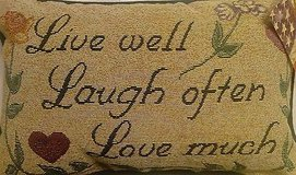 """sentiment pillow """" live, laugh, love """" in Moody AFB, Georgia"""