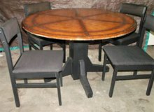 "Wood Pedastal Table and Chairs $125 ""The Back Forty"", Adel in Moody AFB, Georgia"