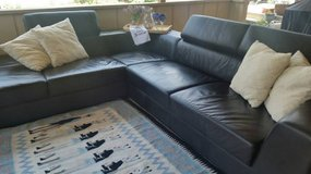 Hold it Contempory home store black leather sectional in Temecula, California