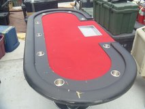 """94"""" 12 professional player poker table cup holders red felt chip tray 80260 in Huntington Beach, California"""