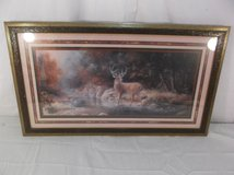 majestic buck in a river landscape painting with elegant designed frame 100180 in Huntington Beach, California
