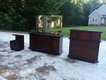 Dark Cherry Wood Dressers w/ Mirror & End Table in Camp Lejeune, North Carolina