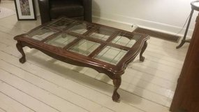 Beautiful Claw Foot Bevel Foil Glass Coffee Table in Joliet, Illinois