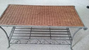 Wrought iron and wicker coffee table in Joliet, Illinois