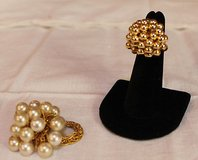 Pair of Stretch Rings - Faux Pearl & Gold Beads in Aurora, Illinois