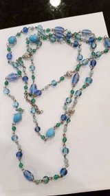Necklace - Blue beads - one long strand can be layered in Joliet, Illinois