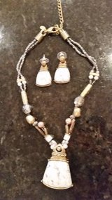 Necklace and Earrings - Gold and white tones with beads from Chicos in Orland Park, Illinois