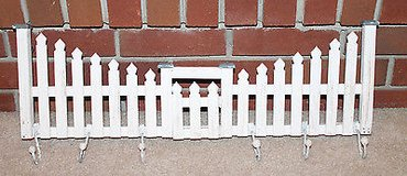 Two's Company White Washed Picket Fence Wall Hanging w/Hooks in Aurora, Illinois
