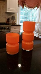 Crate and Barrel Orange Totem Vases in Joliet, Illinois