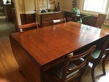 REDUCED: Dining Room Table with Sideboard, 6 Chairs, 3 leaves and Pads in Naperville, Illinois
