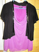 Lot of 2 Items, Ladies XL shimmery purple dressy tank blouse & sequined jacket in Kingwood, Texas