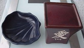 (2) ceramic soap dish & ceramic candle holder, love character/blue shell in Naperville, Illinois