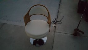 vintage white and wood grain salon style chair adjustable height 40391 in Fort Carson, Colorado