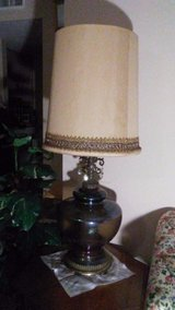 large vintage mid century glass, brass, metal table lamp in Houston, Texas