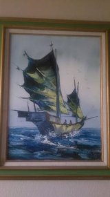 Original Kee Fung NG Oil Painting of Junk Boat In Fairfield 6/16 if you want me to bring this in Fairfield, California