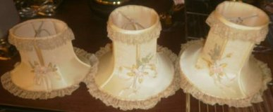 Set of 3 Vintage Lamp Shades With Lace in Batavia, Illinois