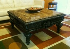 Thomasville Coffee Table w/Granite Top & Seashell Designs in Fort Lewis, Washington