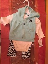 carters hoodie, bodysuit and pants - baby girls 3 months in Naperville, Illinois