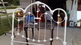 Queen White Iron Bed Frame in Naperville, Illinois