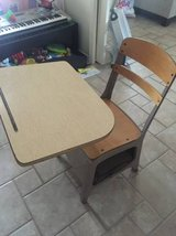 Wooden/metal child's desk in Davis-Monthan AFB, Arizona