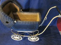 Wicker Doll Baby Carriage Buggy Stroller 2 port holes ANTIQUE in Lockport, Illinois