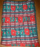Reversible Twin Bed Comforter - Christmas Holiday Green or Poinsettia Pattern in Joliet, Illinois