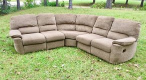 Tan Neutral 3 Piece Curved Sectional Couch w/ 2 Recliners in Wilmington, North Carolina