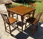 Tall Square Pub Style Wooden Table Kitchen Table w/ Four Chairs in Wilmington, North Carolina