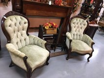 SET OF 2 GREEN VICTORIAN CHAIRS in Fort Campbell, Kentucky