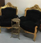 PAIR OF HUGE GUILDED GOLD/BLACK CHAIRS in Fort Campbell, Kentucky