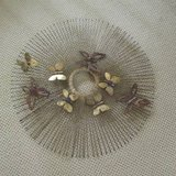 MID CENTURY MODERN GOLD TONE METAL ROUND BUTTERFLY WALL HANGING ART in Algonquin, Illinois