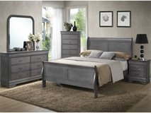 ** NO CREDIT ** SOLID WOOD QUEEN RUSTIC GREY GRAY BED SET ** in Nashville, Tennessee
