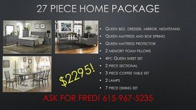 ** NO CREDIT ** 27 PIECE HOME PACKAGE ** QUEEN BED SOFA DINING ** in Nashville, Tennessee