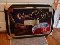 Ultra Rare Authentic LARGE CROWN ROYAL WHISKEY Mirror w/ Black Wooden in Brookfield, Wisconsin