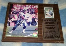Authentic signed Troy Aikman photo rookie card plaque in Conroe, Texas