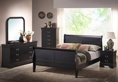 ** BRAND NEW ** SOLID WOOD QUEEN BLACK BEDROOM SET ** NO CREDIT in Nashville, Tennessee