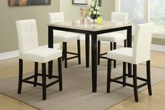 Cream Marble Finish Counter Table + 4 White Chairs Set FREE DELIVERY++ in Miramar, California