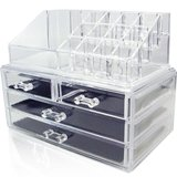 NEW unique home acrylic jewelry and cosmetic organizer clear medium 2 piece new in Houston, Texas