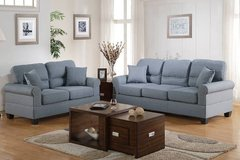 New Blue Gray Linen Sofa + Loveseat with Throw Pillows FREE DELIVERY in Miramar, California