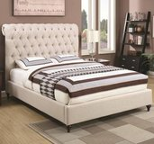 ** NO CREDIT ** QUEEN UPHOLSTERED TUFTED CREAM WHITE LINEN BED ** NEW in Nashville, Tennessee