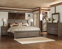** NO CREDIT ** ASHLEY QUEEN GREY GRAY RUSTIC BED SET W PILLOW TOP ** in Nashville, Tennessee
