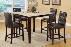 Counter Height Dining Table Marble Finish + 4Chairs Set FREE DELIVERY+ in Miramar, California
