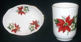 Newhall Staffordshire Holiday Christmas Bone China Soap Dish & Cup in Lockport, Illinois