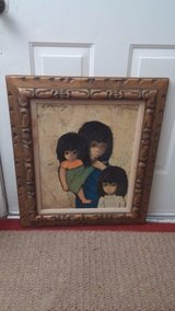 vintage signed oil painting on canvas children in Houston, Texas
